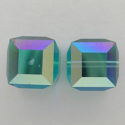 Swarovski 5601 6mm Cube Beads Indicolite AB
