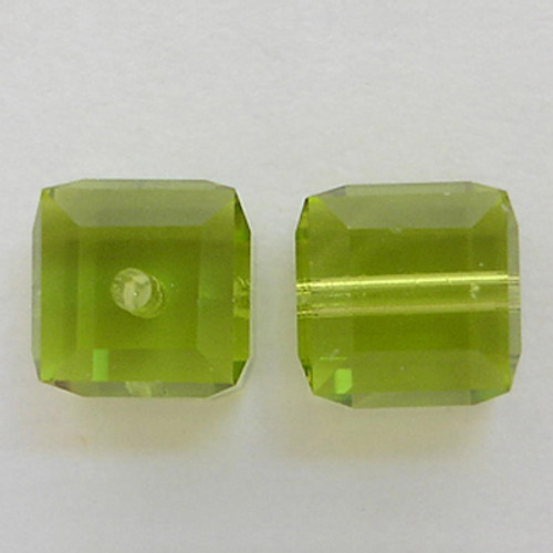 Swarovski 5601 6mm Cube Beads Light Olivine