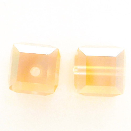 Swarovski 5601 6mm Cube Beads Light Peach AB