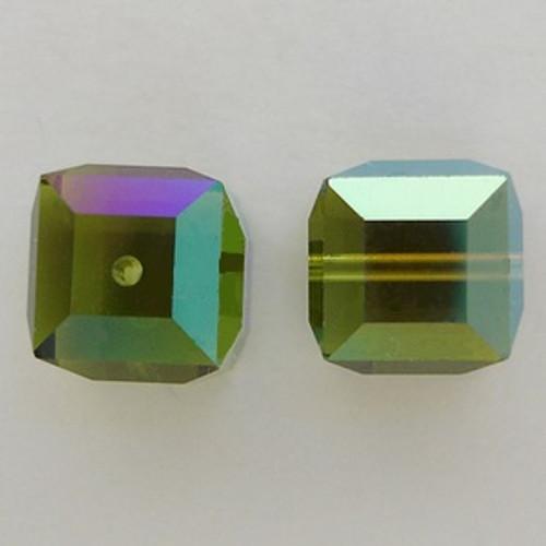 Swarovski 5601 6mm Cube Beads Olivine AB