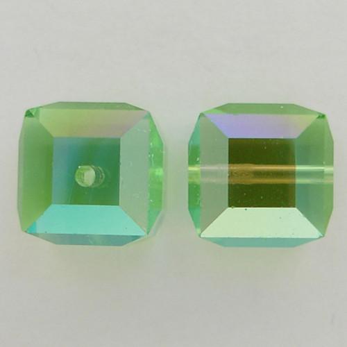 Swarovski 5601 6mm Cube Beads Peridot AB
