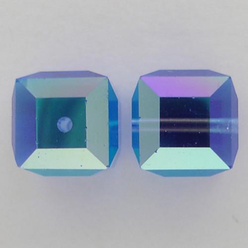 Swarovski 5601 6mm Cube Beads Sapphire AB