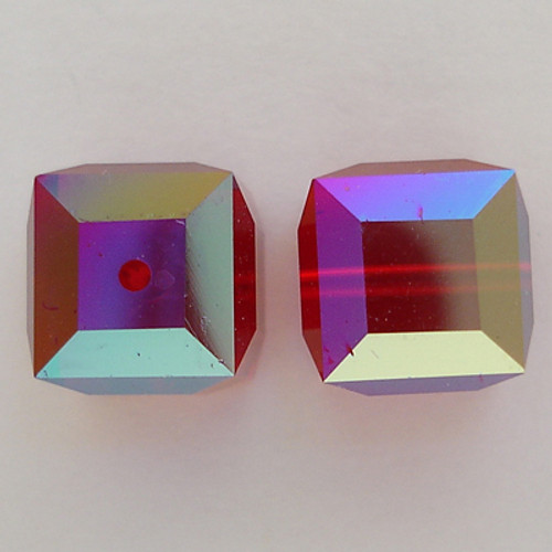 Swarovski 5601 6mm Cube Beads Siam AB
