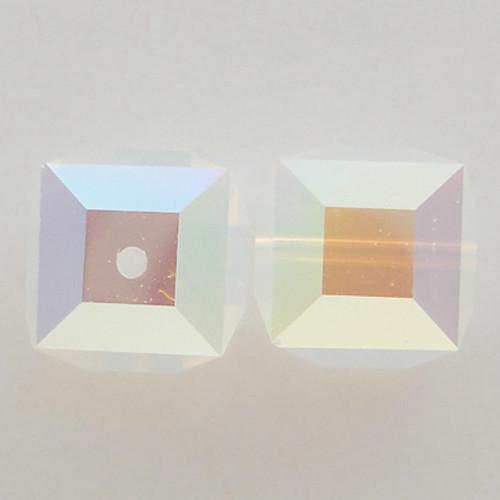 Swarovski 5601 6mm Cube Beads White Opal AB