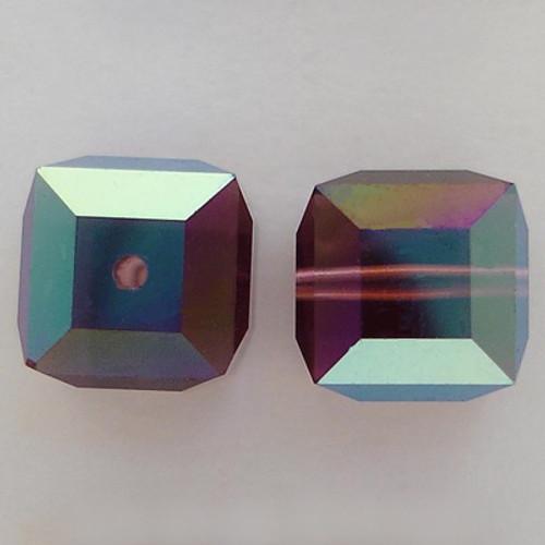 Swarovski 5601 8mm Cube Beads Amethyst AB