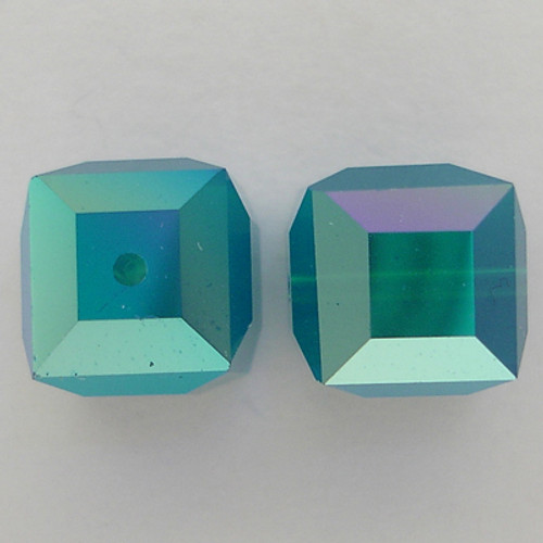 Swarovski 5601 8mm Cube Beads Caribbean Blue Opal AB