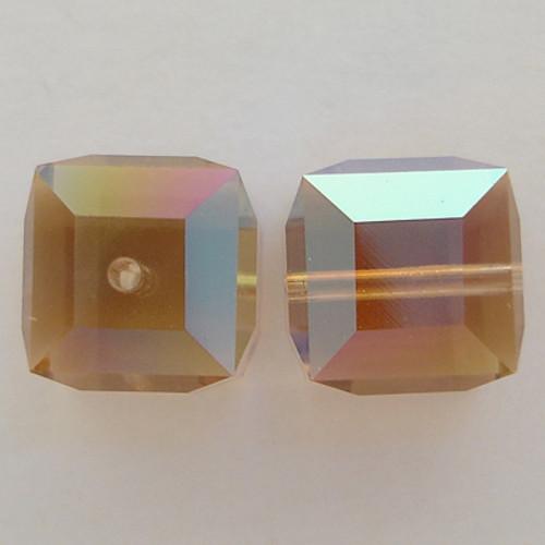 Swarovski 5601 8mm Cube Beads Light Colorado Topaz AB