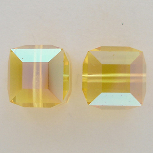 Swarovski 5601 8mm Cube Beads Light Topaz AB