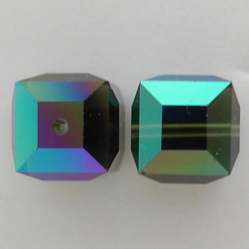 Swarovski 5601 8mm Cube Beads Morion AB