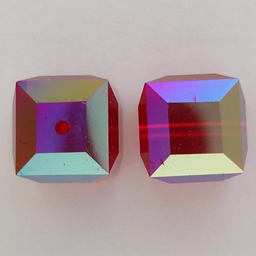 Swarovski 5601 8mm Cube Beads Siam AB
