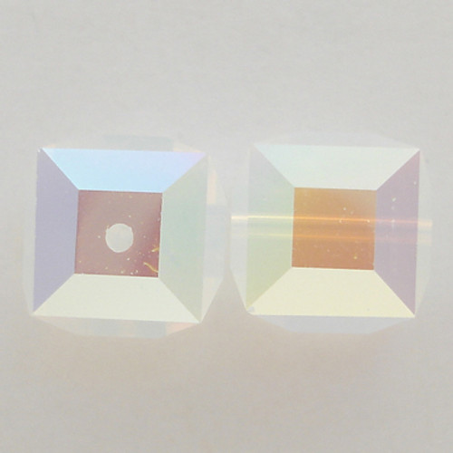 Swarovski 5601 8mm Cube Beads White Opal AB