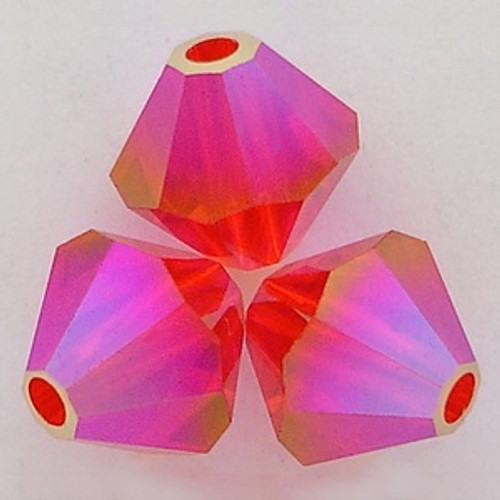 Swarovski 5328 3mm Xilion Bicone Beads Light Siam AB 2X