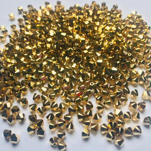 Swarovski 5328 4mm Xilion Bicone Beads Crystal Aurum 2X   (72 pieces)