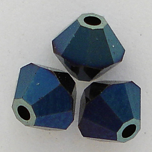 Swarovski 5328 4mm Xilion Bicone Beads Crystal Metallic Blue 2X