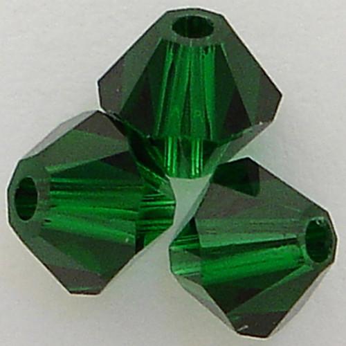 Swarovski 5328 4mm Xilion Bicone Beads Medium Emerald