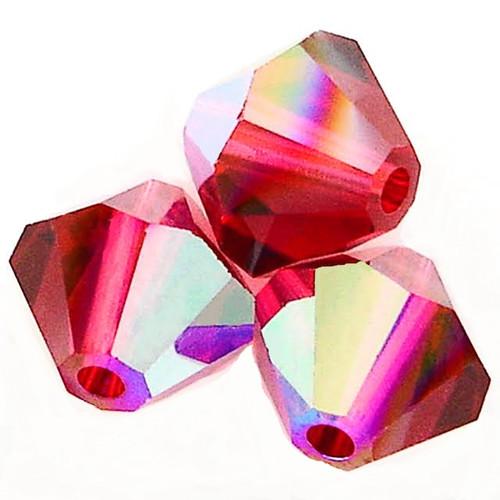 Swarovski 5328 4mm Xilion Bicone Beads Ruby AB