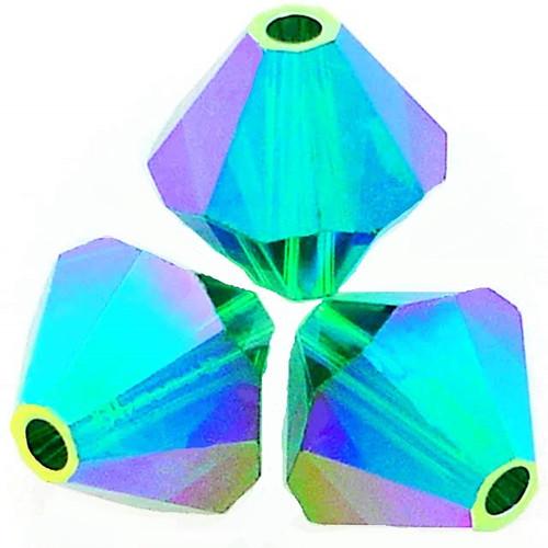 Swarovski 5328 6mm Xilion Bicone Beads Emerald AB 2X