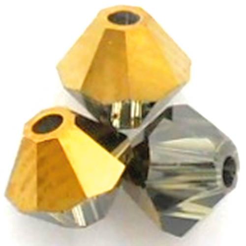 Swarovski 5328 4mm Bicone Beads Black Diamond Dorado