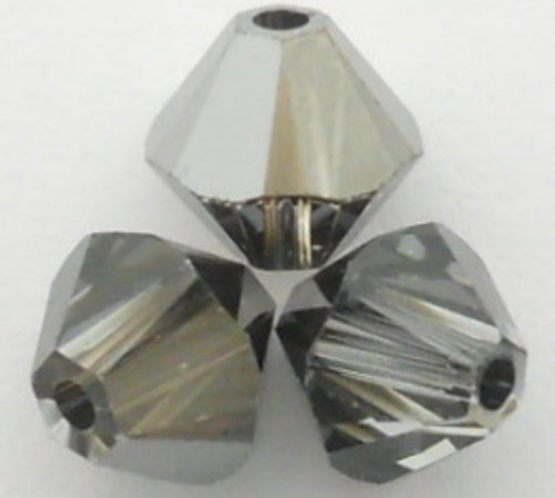 Swarovski 5328 4mm Xilion Bicone Beads Crystal Silver Night