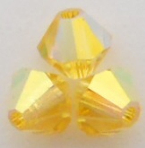 Swarovski 5328 4mm Xilion Bicone Beads Light Topaz AB 2X