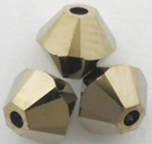 Swarovski 5328 6mm Xilion Bicone Beads Crystal Metallic Light Gold 2X