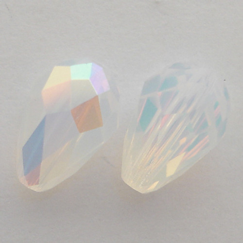 Swarovski 5500 9mm Pearshape Beads White Opal AB