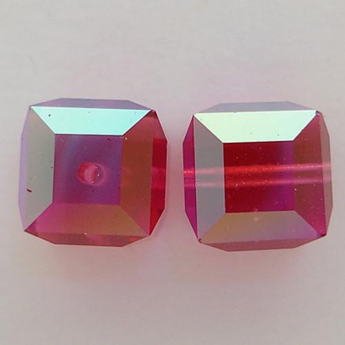 Swarovski 5601 4mm Cube Beads Fuchsia AB