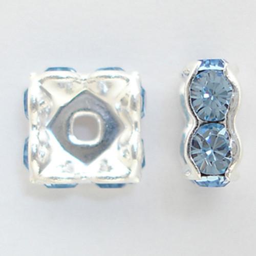 Swarovski 5920 4mm Squaredelles Silver Light Sapphire   (12 pieces)