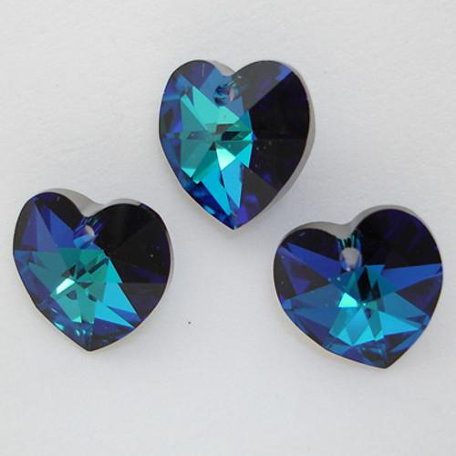 Swarovski 6202 10mm Heart Pendant Crystal Bermuda Blue