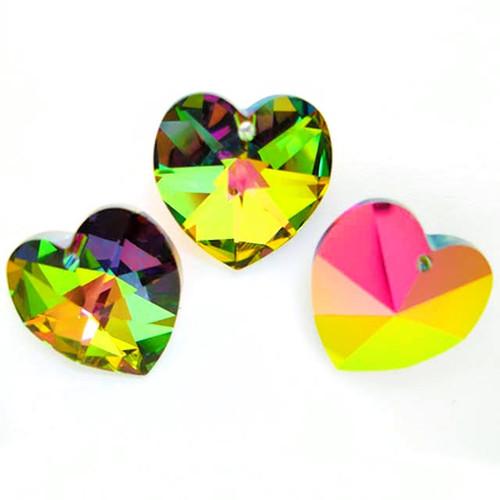 Swarovski 6228 10mm Xilion Heart Pendants Crystal Vitrail Medium (18 pieces)