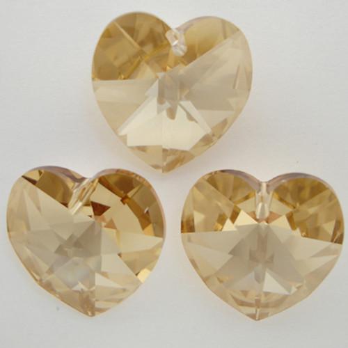 Swarovski 6202 14mm Heart Pendant Crystal Golden Shadow
