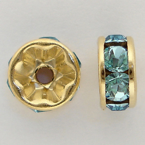 On Sale: Swarovski 5820 6mm Rhinestone Rondelles Gold Aquamarine (12 pieces)