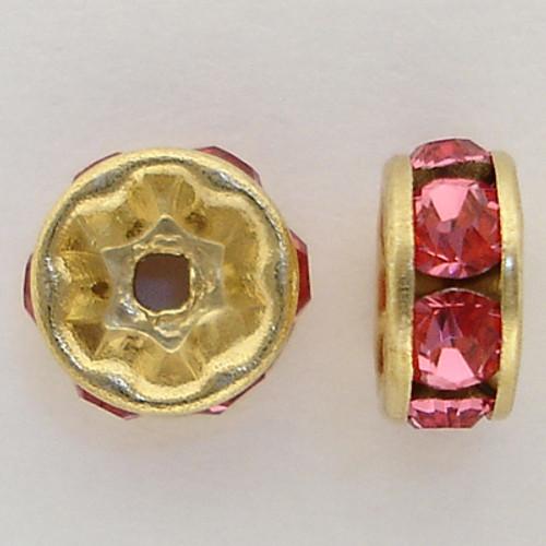 On Sale: Swarovski 5820 6mm Rhinestone Rondelles Gold Rose (12 pieces)