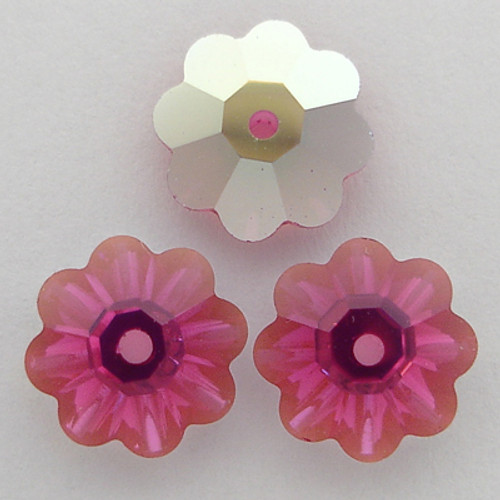 On Sale: Swarovski 3700 10mm Marguerite Beads Fuchsia AB (18 pieces)