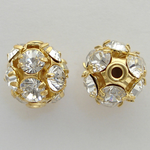 Swarovski 5830 10mm Pave Filigree Balls Gold Crystal AB