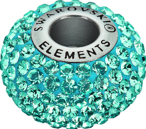 Swarovski 80101 14mm BeCharmed Pavé Beads with Aquamarine Chatons on Light Blue base (12 pieces)