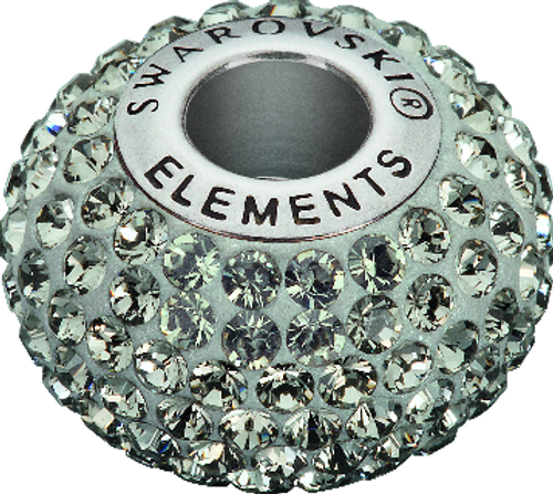 Swarovski 80101 14mm BeCharmed Pavé Beads with Blk Diamond Chatons on Silver base (12 pieces)
