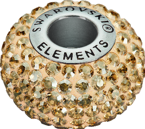 Swarovski 80101 14mm BeCharmed Pavé Beads with Crystal Golden Shadow Chatons on Pearl Silk base (12 pieces)