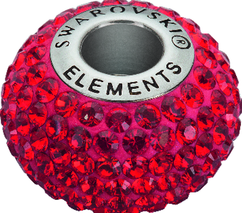 Swarovski 80101 14mm BeCharmed Pavé Beads with Indian Siam Chatons on Shining Red base (12 pieces)