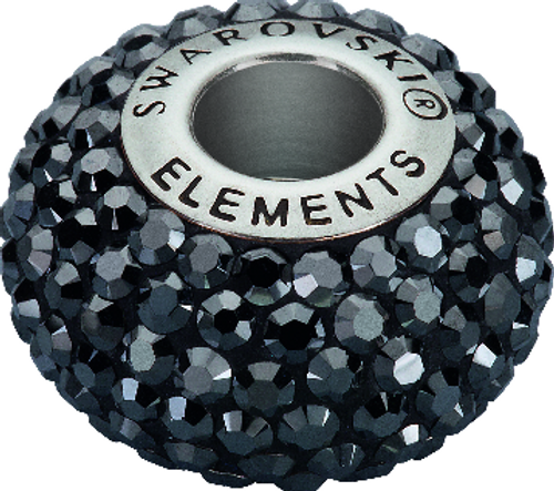 Swarovski 80101 14mm BeCharmed Pavé Beads with Jet Hematite Chatons on Black base (12 pieces)