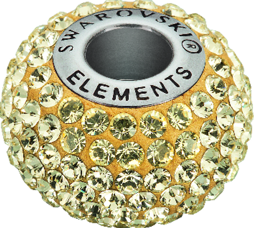 Swarovski 80101 14mm BeCharmed Pavé Beads with Jonquil Chatons on Gold base (12 pieces)