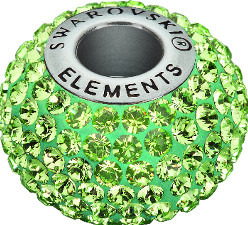 Swarovski 80101 14mm BeCharmed Pavé Beads with Peridot Chatons on Light Green base (12 pieces)