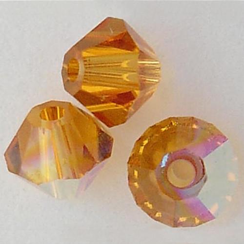 On Sale :  Swarovski 5328 10mm Xilion Bicone Beads Topaz AB (36 pieces)