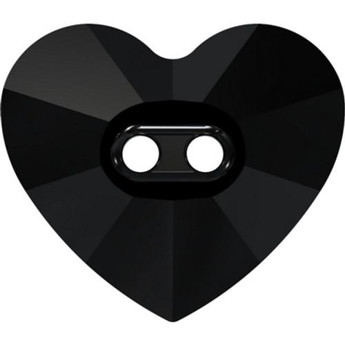 Swarovski 3023 14mm Heart Button Jet ( 144 pieces)