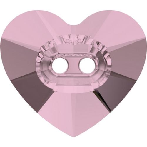 Swarovski 3023 16mm Heart Button Crystal Antique Pink ( 72 pieces)