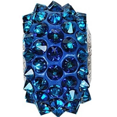 Swarovski 80401 16mm BeCharmed Pavé Spikes Beads with Crystal Bermuda Blue Stones on Dark Blue base (12 pieces)