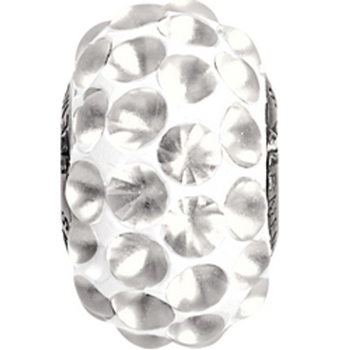 Swarovski 80501 15.5mm BeCharmed Pavé Cabochon Beads with Crystal Matte Stones on White base (12 pieces)