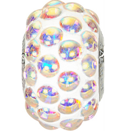 Swarovski 80501 15.5mm BeCharmed Pavé Cabochon Beads with Crystal AB Stones on White base (12 pieces)