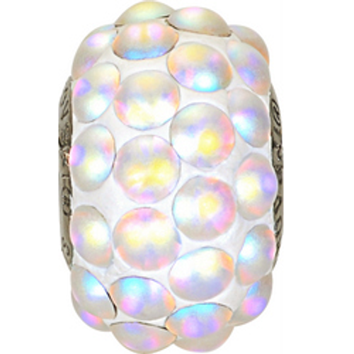 Swarovski 80501 15.5mm BeCharmed Pavé Cabochon Beads with Crystal AB Matte Stones on White base (12 pieces)