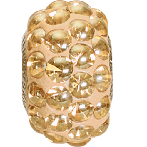 Swarovski 80501 15.5mm BeCharmed Pavé Cabochon Beads with Crystal Golden Shadow Stones on Pearl Silk base (12 pieces)